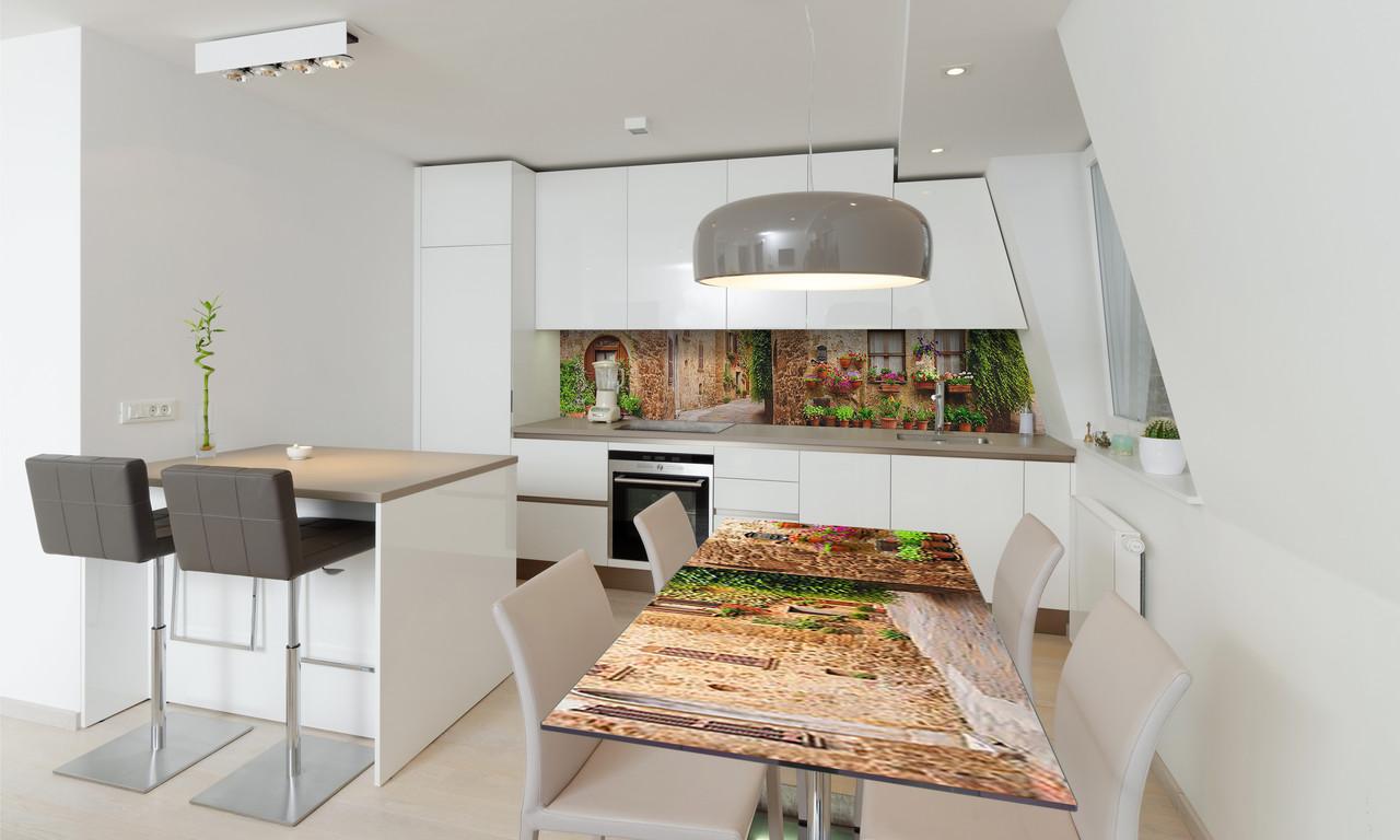 Наклейка 3Д виниловая на стол Zatarga «Прованс Горшочки с цветами» 600х1200 мм для домов, квартир, столов,