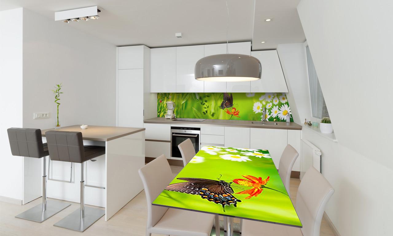 Наклейка 3Д виниловая на стол Zatarga «Бабочка 02» 600х1200 мм для домов, квартир, столов, кофейн, кафе