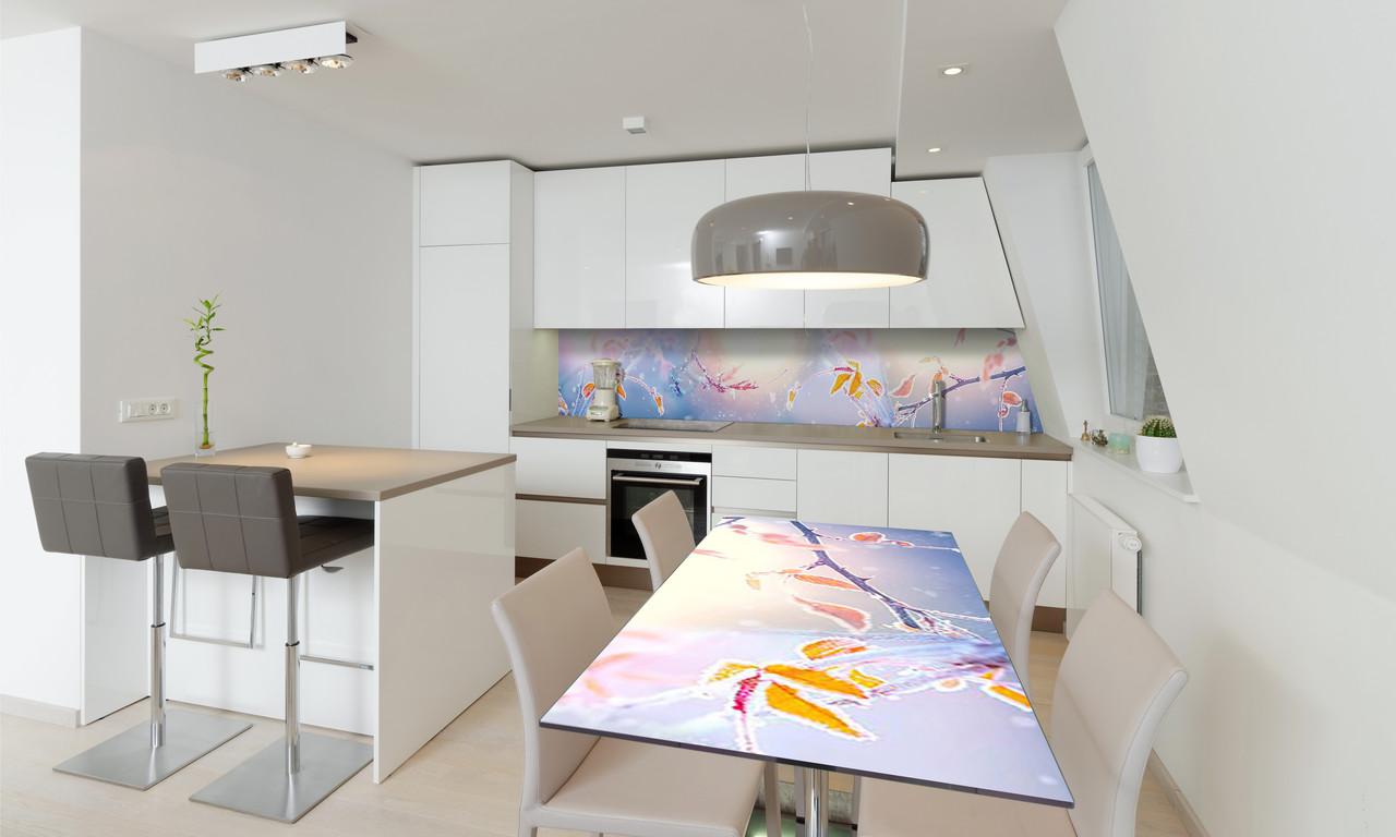 Наклейка 3Д виниловая на стол Zatarga «Осенний Иней» 600х1200 мм для домов, квартир, столов, кофейн,