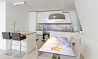 Наклейка 3Д виниловая на стол Zatarga «Осенний Иней» 600х1200 мм для домов, квартир, столов, кофейн,, фото 1