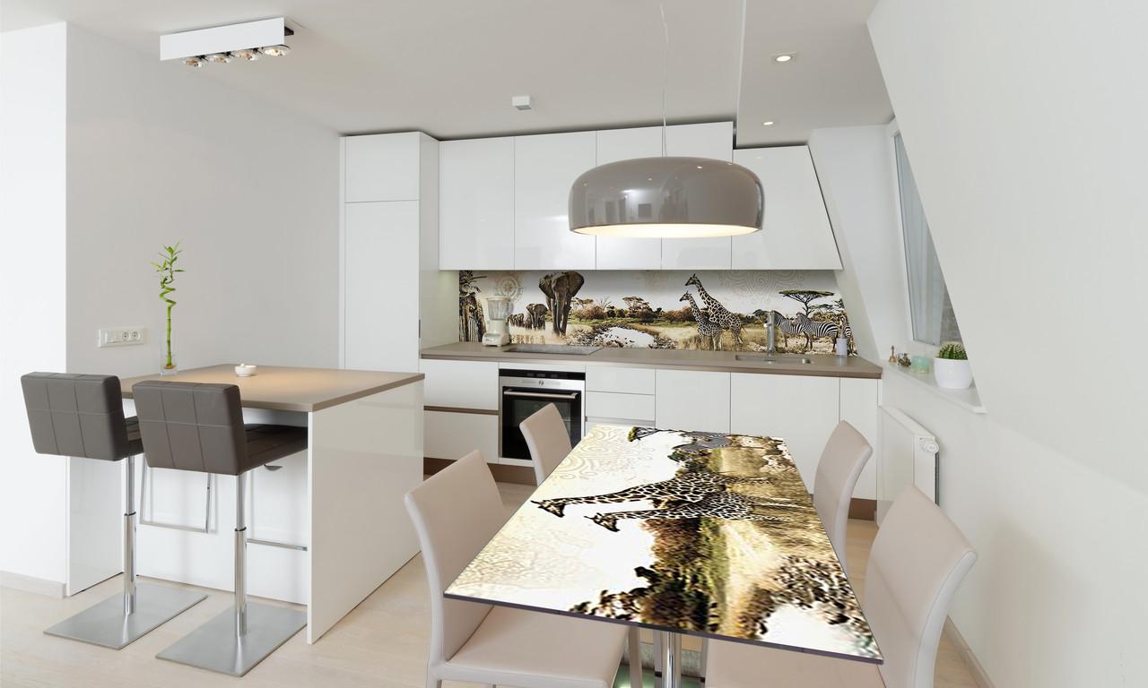Наклейка 3Д виниловая на стол Zatarga «Этно Сафари» 650х1200 мм для домов, квартир, столов, кофейн,