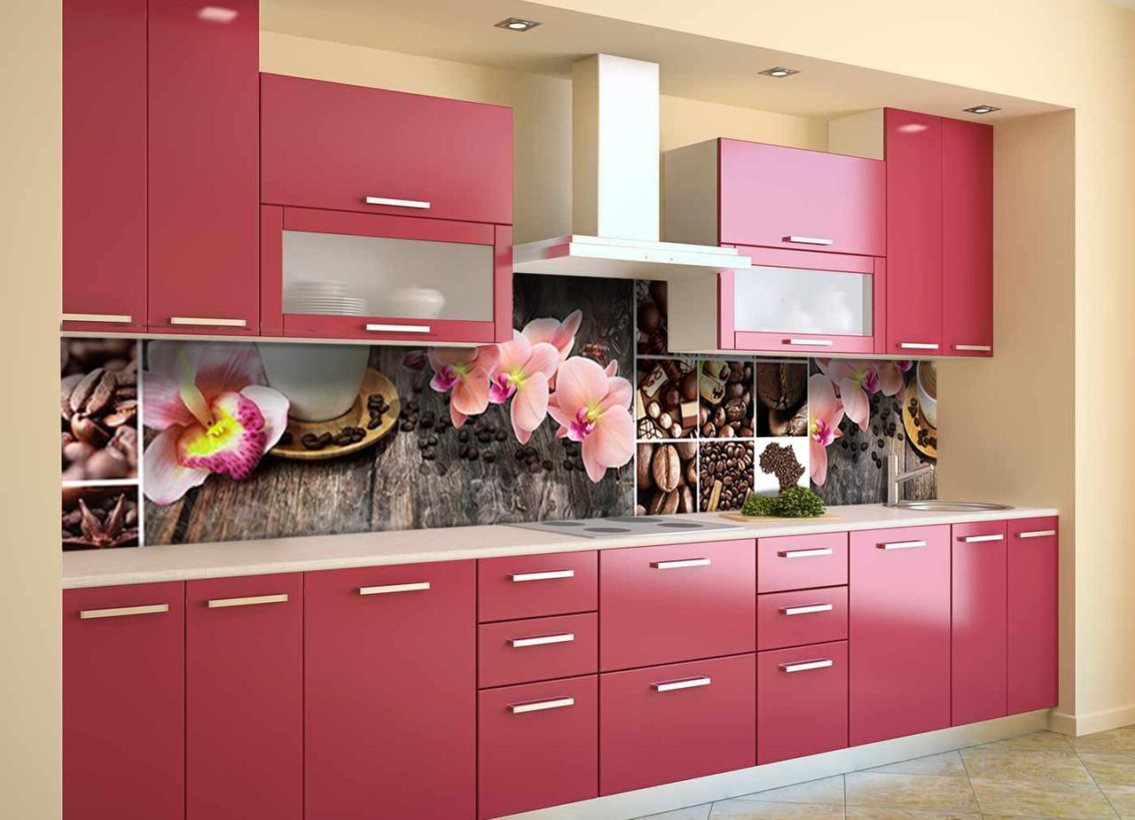 Скинали на кухню Zatarga «Орхидеи и Сладости 02» 600х3000 мм виниловая 3Д наклейка кухонный фартук