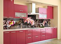 Скинали на кухню Zatarga «Орхидеи и Сладости 02» 600х3000 мм виниловая 3Д наклейка кухонный фартук, фото 1