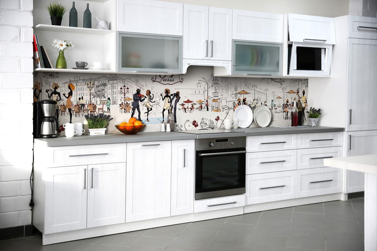 Скинали на кухню Zatarga «Париж Силуэты» 600х2500 мм виниловая 3Д наклейка кухонный фартук самоклеящаяся