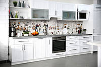 Скинали на кухню Zatarga «Париж Силуэты» 600х2500 мм виниловая 3Д наклейка кухонный фартук самоклеящаяся, фото 1