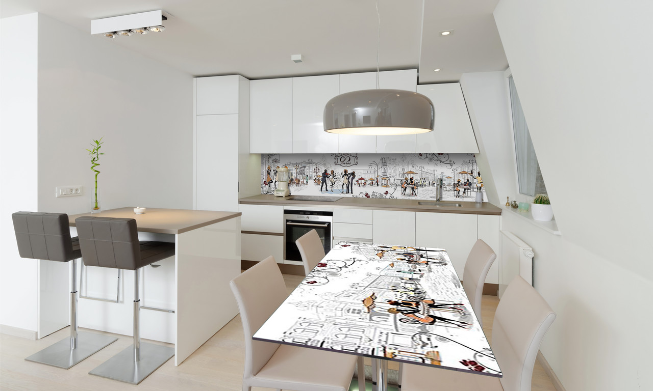 Наклейка 3Д виниловая на стол Zatarga «Париж Силуэты» 650х1200 мм для домов, квартир, столов, кофейн,