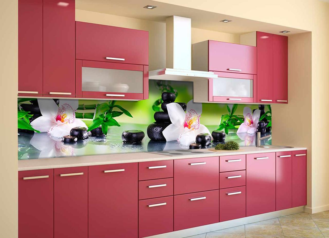 Скинали на кухню Zatarga «Орхидея и Бамбук 02» 650х2500 мм виниловая 3Д наклейка кухонный фартук самоклеящаяся