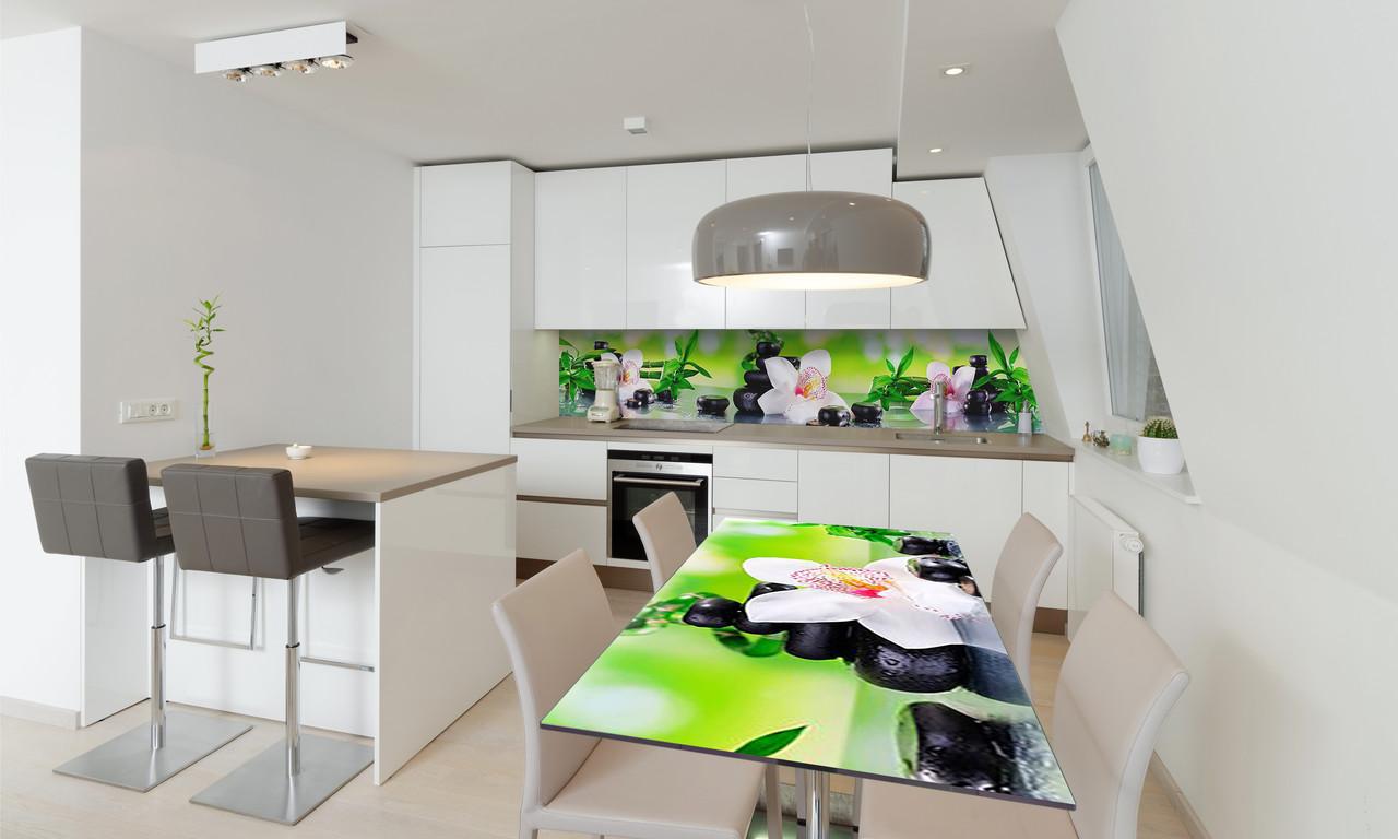 Наклейка 3Д виниловая на стол Zatarga «Орхидея и Бамбук 02» 650х1200 мм для домов, квартир, столов,