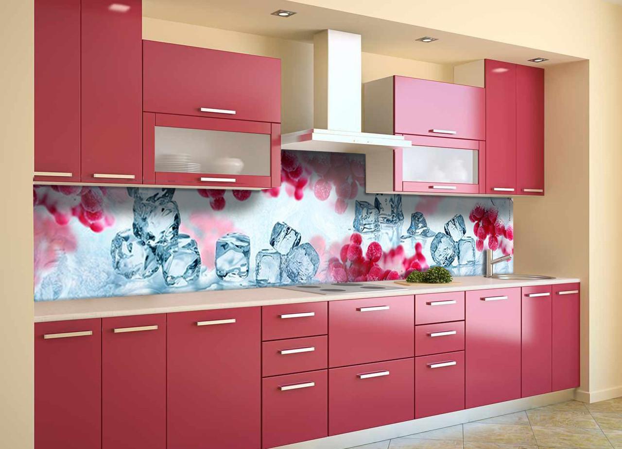 Скинали на кухню Zatarga «Зимняя Калина» 650х2500 мм виниловая 3Д наклейка кухонный фартук самоклеящаяся