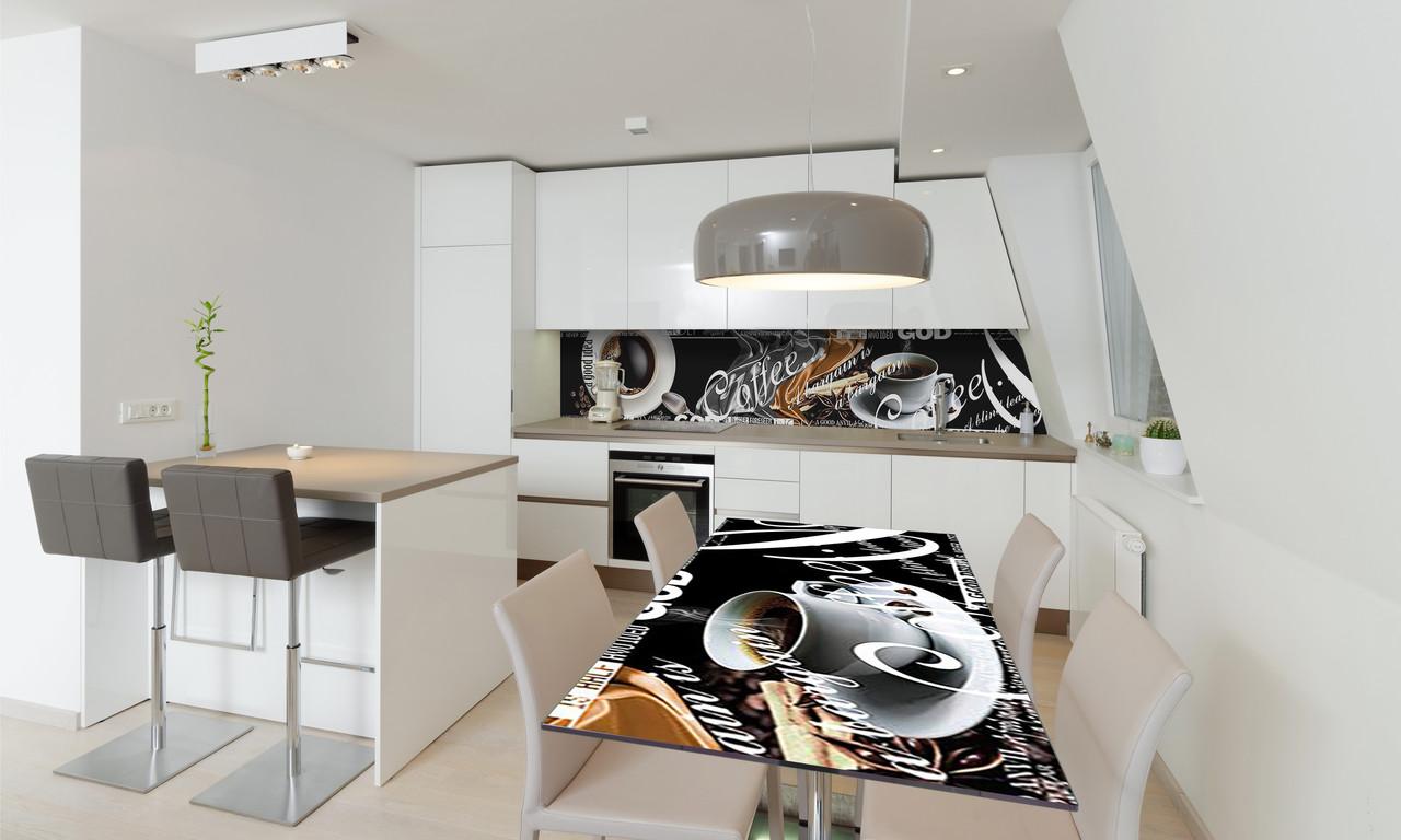 Наклейка 3Д виниловая на стол Zatarga «Черный Кофе» 650х1200 мм для домов, квартир, столов, кофейн,