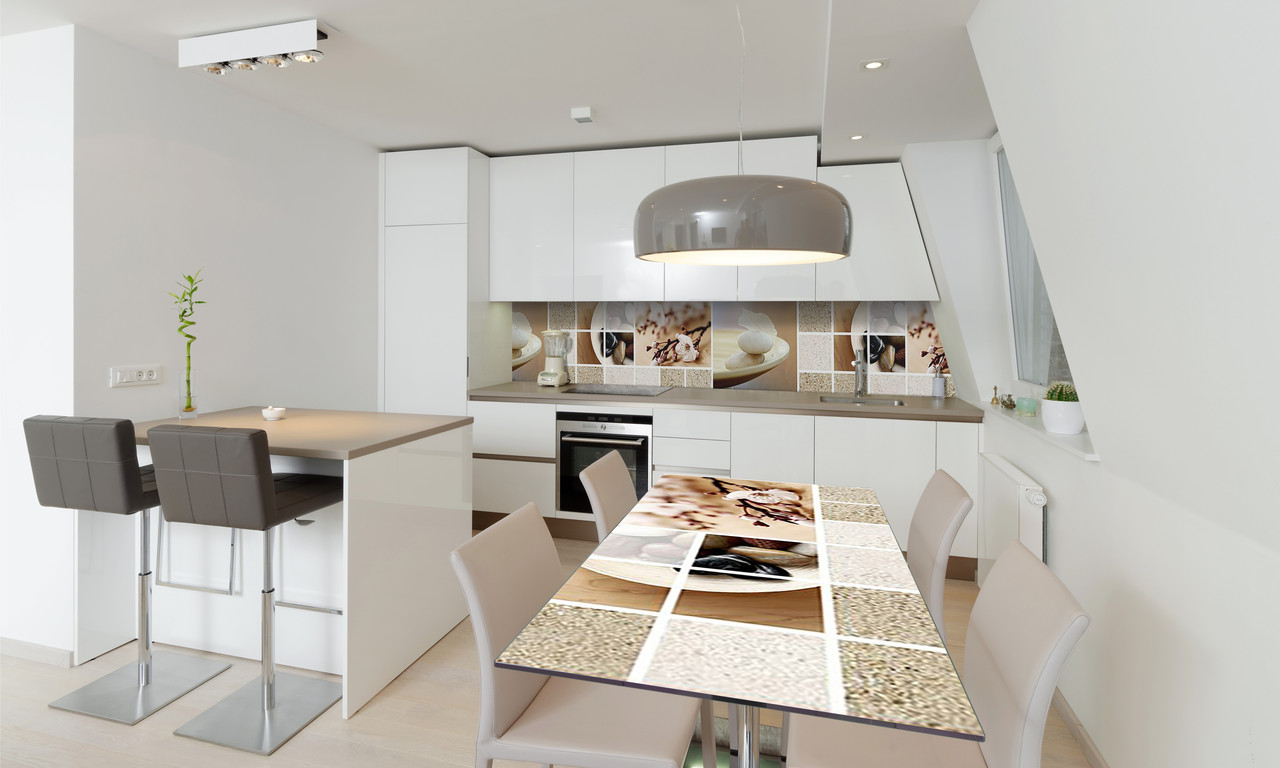Наклейка 3Д виниловая на стол Zatarga «Охра 02» 600х1200 мм для домов, квартир, столов, кофейн, кафе
