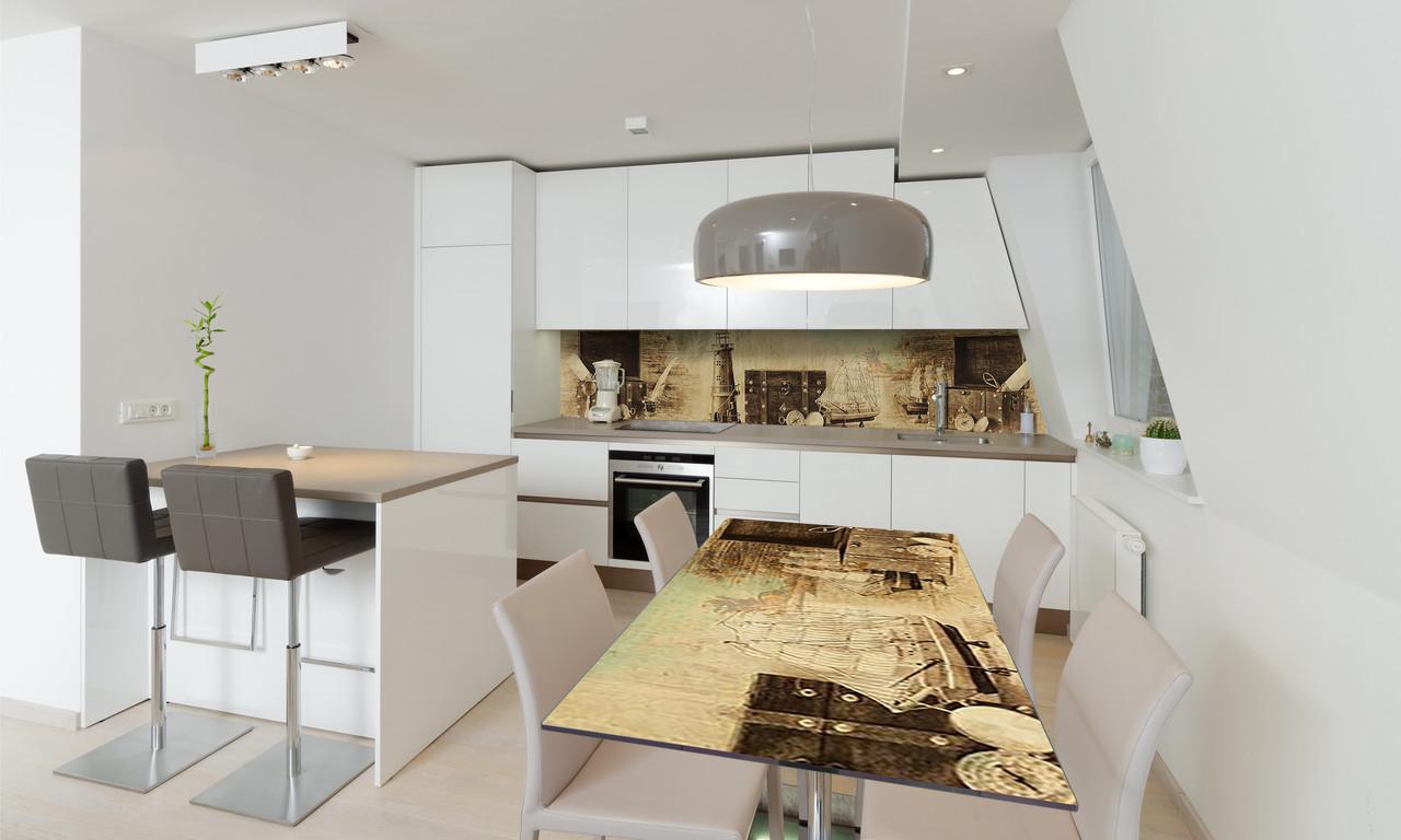 Наклейка 3Д виниловая на стол Zatarga «Маяк и Чемодан» 600х1200 мм для домов, квартир, столов, кофейн,
