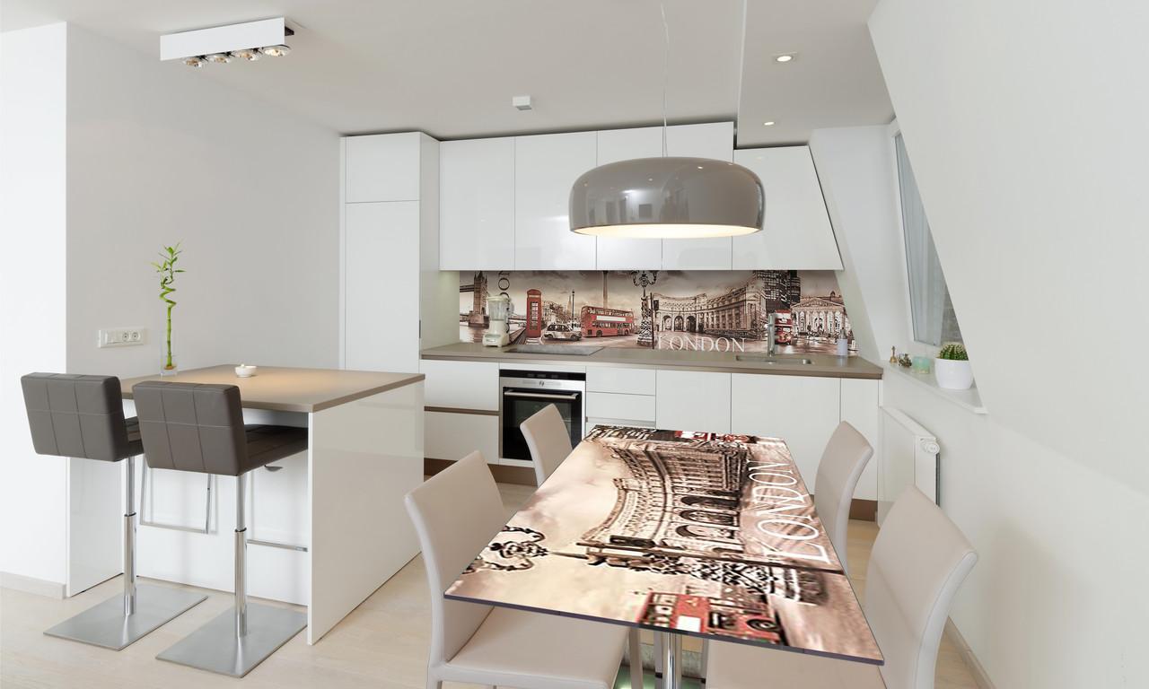 Наклейка 3Д виниловая на стол Zatarga «Лондонская площадь» 650х1200 мм для домов, квартир, столов,