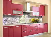 Скинали на кухню Zatarga «Вино и Париж 02» 600х2500 мм виниловая 3Д наклейка кухонный фартук самоклеящаяся, фото 1