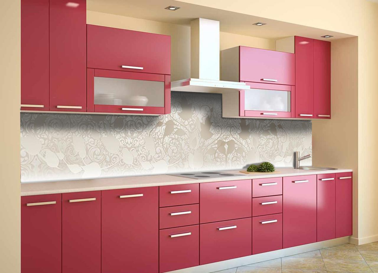 Скинали на кухню Zatarga «Бежевый Узор» 600х2500 мм виниловая 3Д наклейка кухонный фартук самоклеящаяся