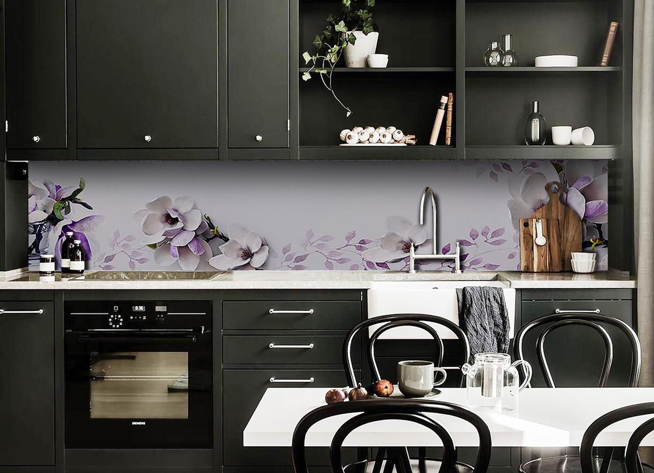 Скинали на кухню Zatarga «Магнолия 02» 600х3000 мм виниловая 3Д наклейка кухонный фартук самоклеящаяся