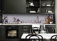 Скинали на кухню Zatarga «Магнолия 02» 600х3000 мм виниловая 3Д наклейка кухонный фартук самоклеящаяся, фото 1