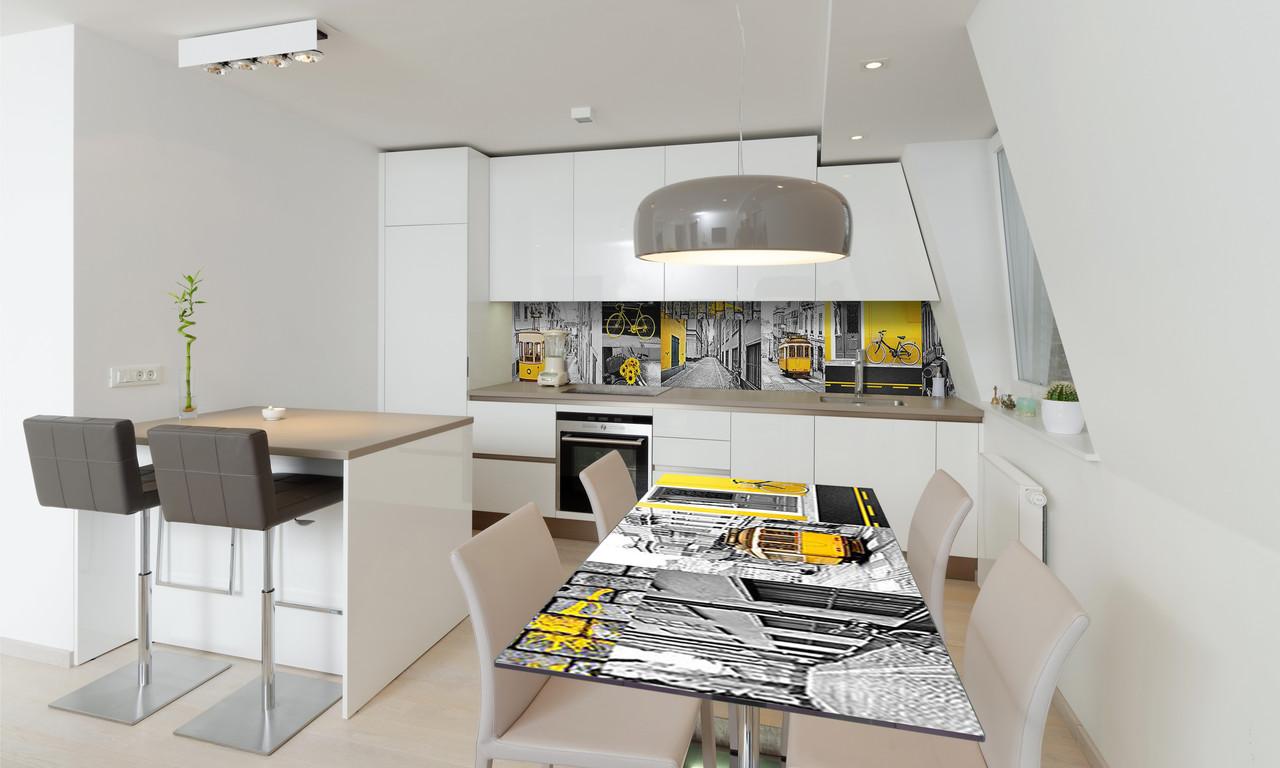 Наклейка 3Д виниловая на стол Zatarga «Желтый трамвай Лиссабон» 650х1200 мм для домов, квартир, столов,