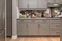 Скинали на кухню Zatarga «Картина пионы ретро кирпичи» 600х3000 мм виниловая 3Д наклейка кухонный фартук, фото 1