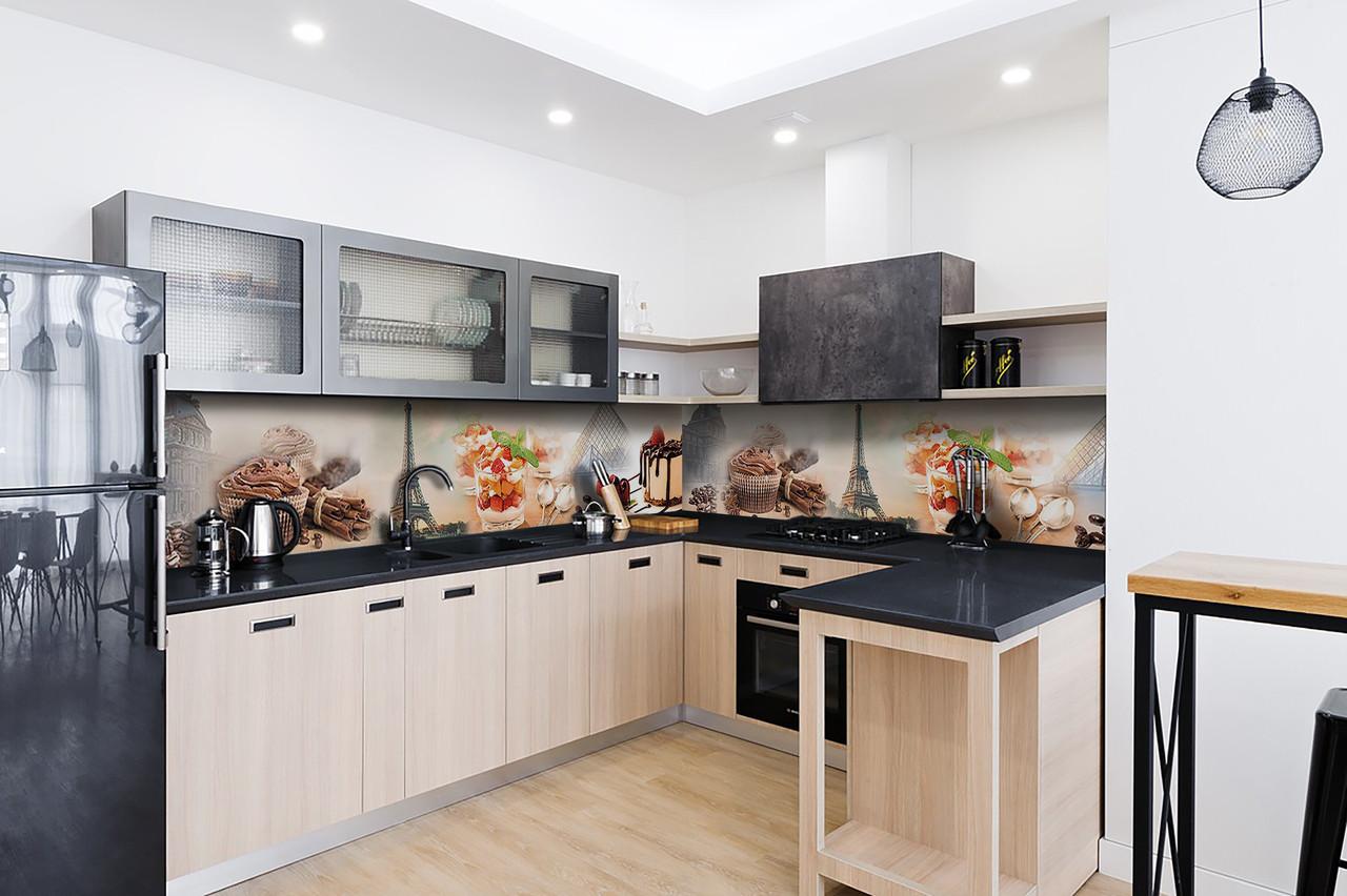 Скинали на кухню Zatarga «Сладости в Париже 02» 600х3000 мм виниловая 3Д наклейка кухонный фартук