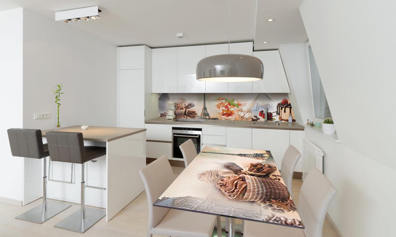 Наклейка 3Д виниловая на стол Zatarga «Сладости в Париже 02» 650х1200 мм для домов, квартир, столов,