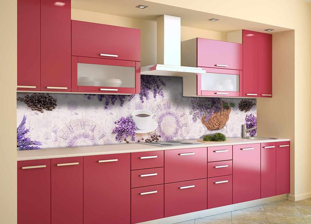 Скинали на кухню Zatarga «Лаванда Корзинка Кофе» 600х3000 мм виниловая 3Д наклейка кухонный фартук для стен,