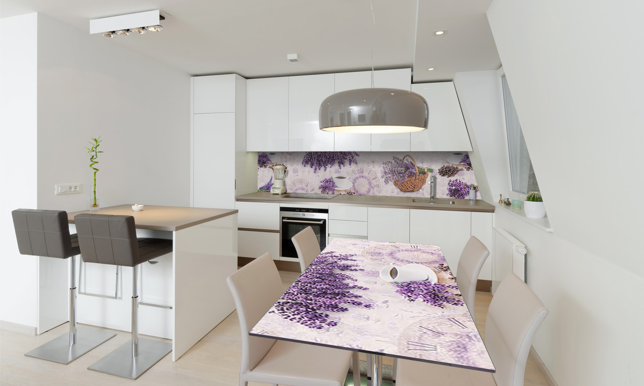 Наклейка 3Д виниловая на стол Zatarga «Лаванда Корзинка Кофе» 650х1200 мм для домов, квартир, столов,