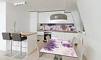 Наклейка 3Д виниловая на стол Zatarga «Лаванда Корзинка Кофе» 650х1200 мм для домов, квартир, столов, , фото 1
