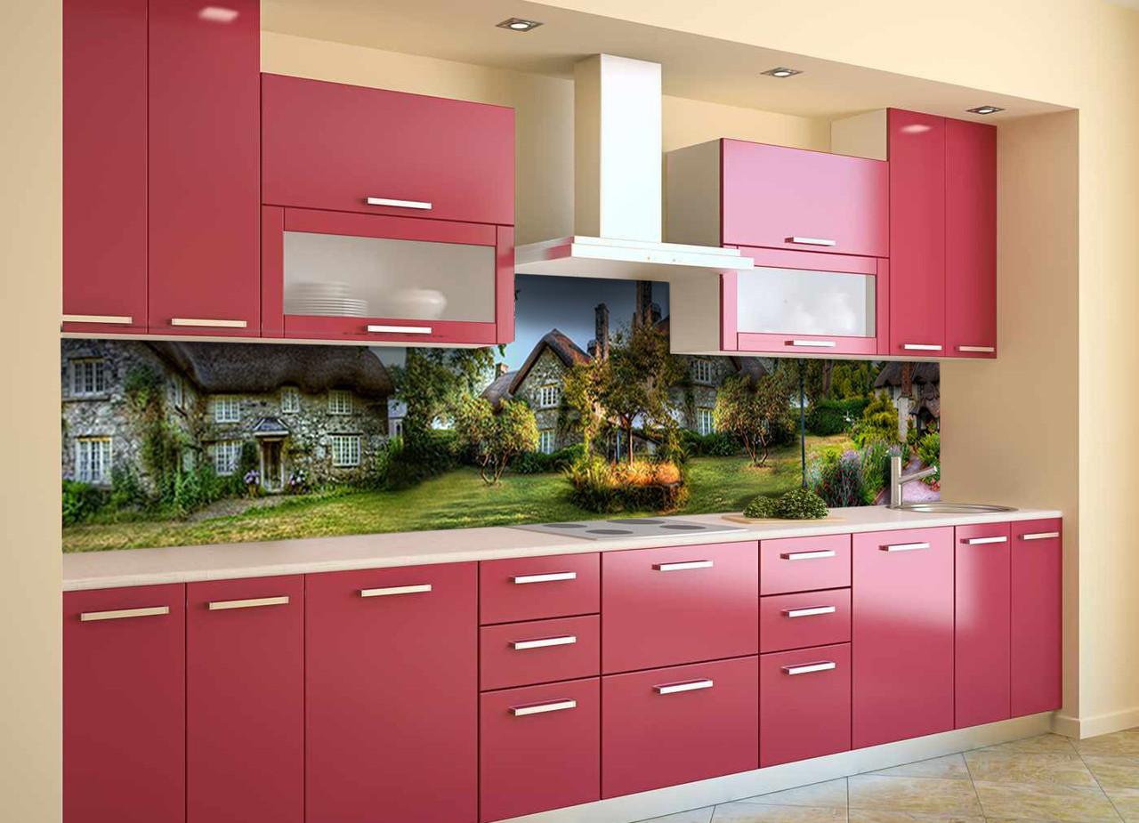 Скинали на кухню Zatarga «Сказочный домик 02» 650х2500 мм виниловая 3Д наклейка кухонный фартук самоклеящаяся