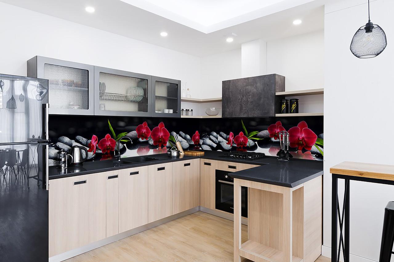 Скинали на кухню Zatarga «Алая орхидея Черные камни» 600х3000 мм виниловая 3Д наклейка кухонный фартук