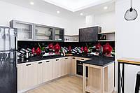 Скинали на кухню Zatarga «Алая орхидея Черные камни» 600х3000 мм виниловая 3Д наклейка кухонный фартук, фото 1