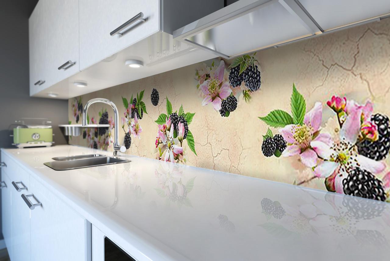 Скинали на кухню Zatarga «Ежевика синие ягоды» 600х2500 мм виниловая 3Д наклейка кухонный фартук самоклеящаяся