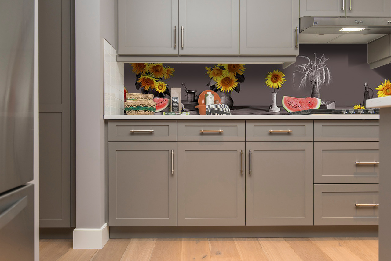 Скинали на кухню Zatarga «Подсолнухи Арбузы» 600х3000 мм виниловая 3Д наклейка кухонный фартук самоклеящаяся