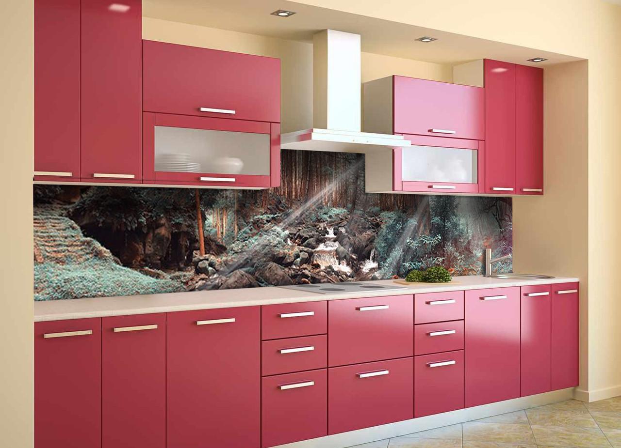 Скинали на кухню Zatarga «Лес Солнечные лучи» 600х2500 мм виниловая 3Д наклейка кухонный фартук самоклеящаяся