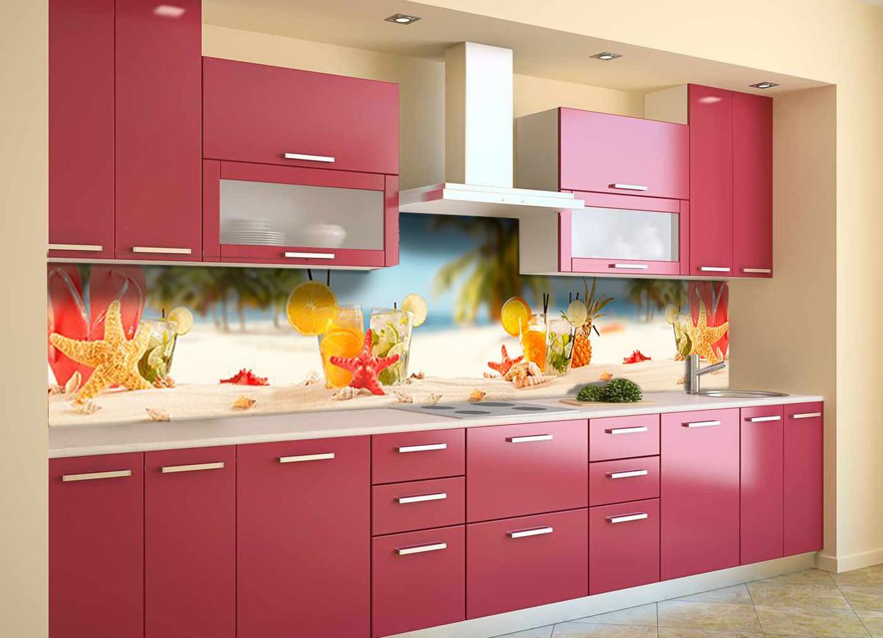 Скинали на кухню Zatarga «Вечное лето, пляж пальмы отпуск» 650х2500 мм виниловая 3Д наклейка кухонный фартук