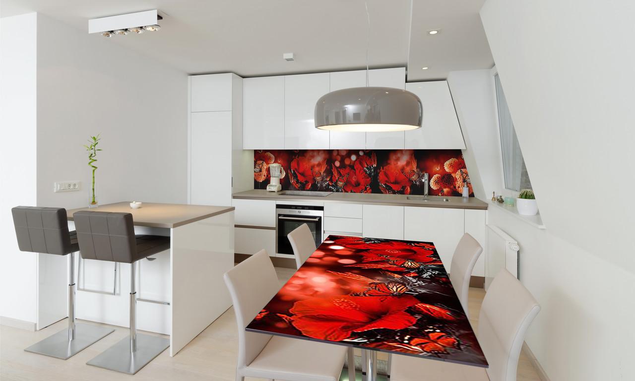 Наклейка 3Д виниловая на стол Zatarga «Красные цветы и бабочки мотыльки» 650х1200 мм для домов, квартир,