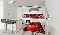 Наклейка 3Д виниловая на стол Zatarga «Красные цветы и бабочки мотыльки» 650х1200 мм для домов, квартир,, фото 1