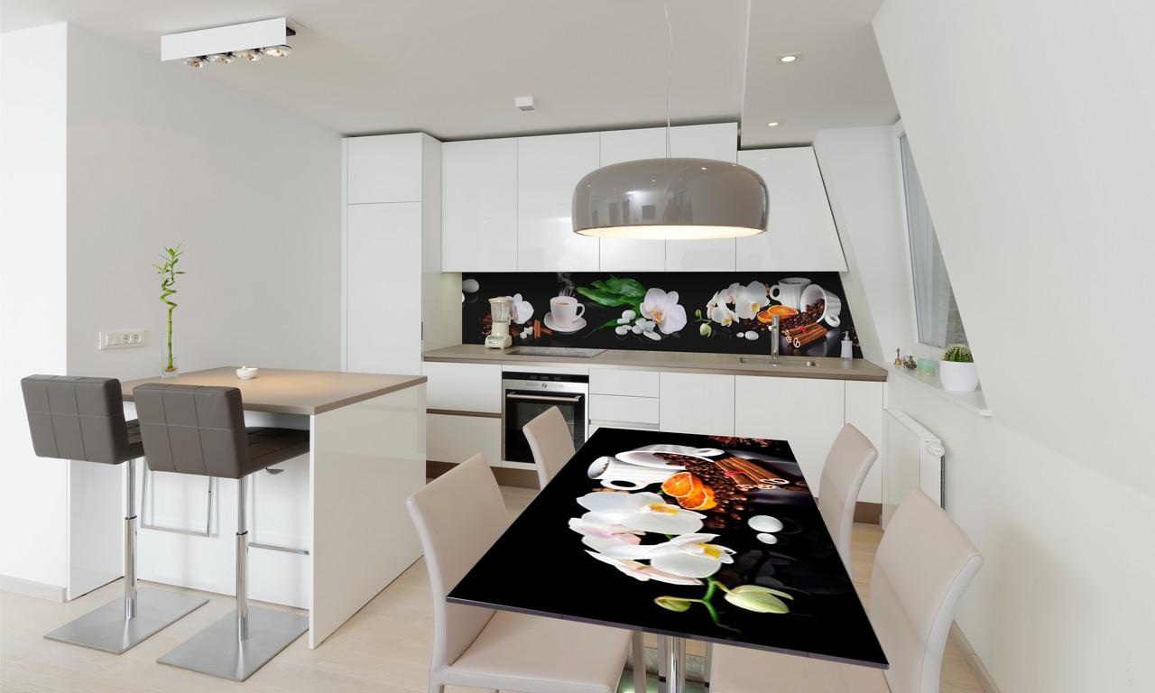 Наклейка 3Д виниловая на стол Zatarga «Кофе и Орхидеи» 650х1200 мм для домов, квартир, столов, кофейн,