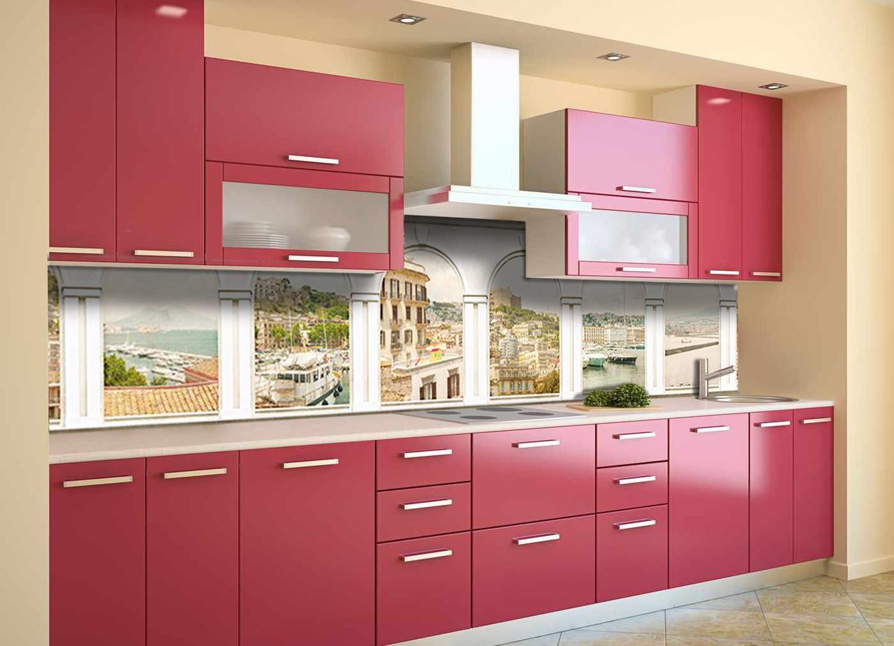 Скинали на кухню Zatarga «Белые арки Город» 600х2500 мм виниловая 3Д наклейка кухонный фартук самоклеящаяся