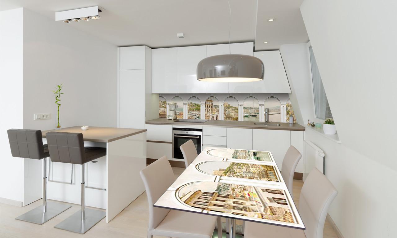 Наклейка 3Д виниловая на стол Zatarga «Белые арки Город» 650х1200 мм для домов, квартир, столов,