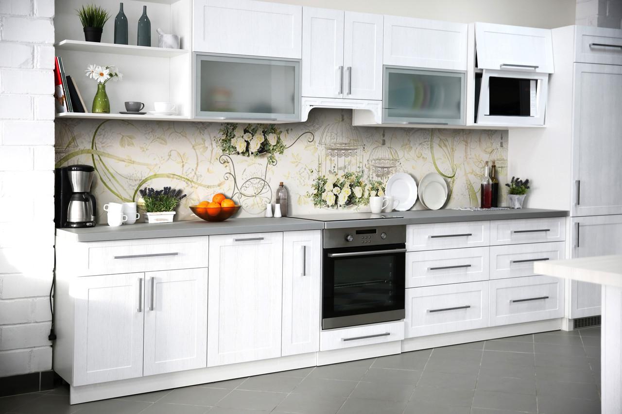Скинали на кухню Zatarga «Винтажные розы» 650х2500 мм виниловая 3Д наклейка кухонный фартук самоклеящаяся