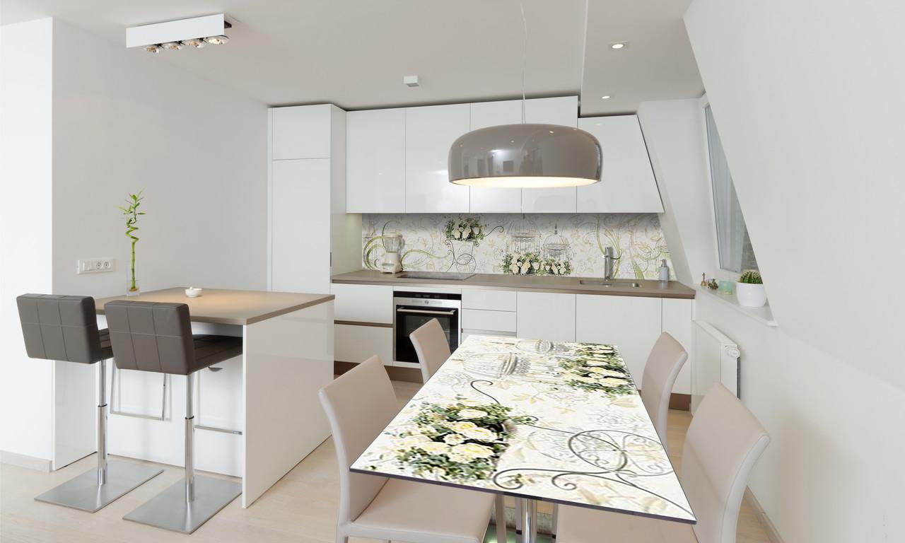 Наклейка 3Д виниловая на стол Zatarga «Винтажные розы» 650х1200 мм для домов, квартир, столов, кофейн,