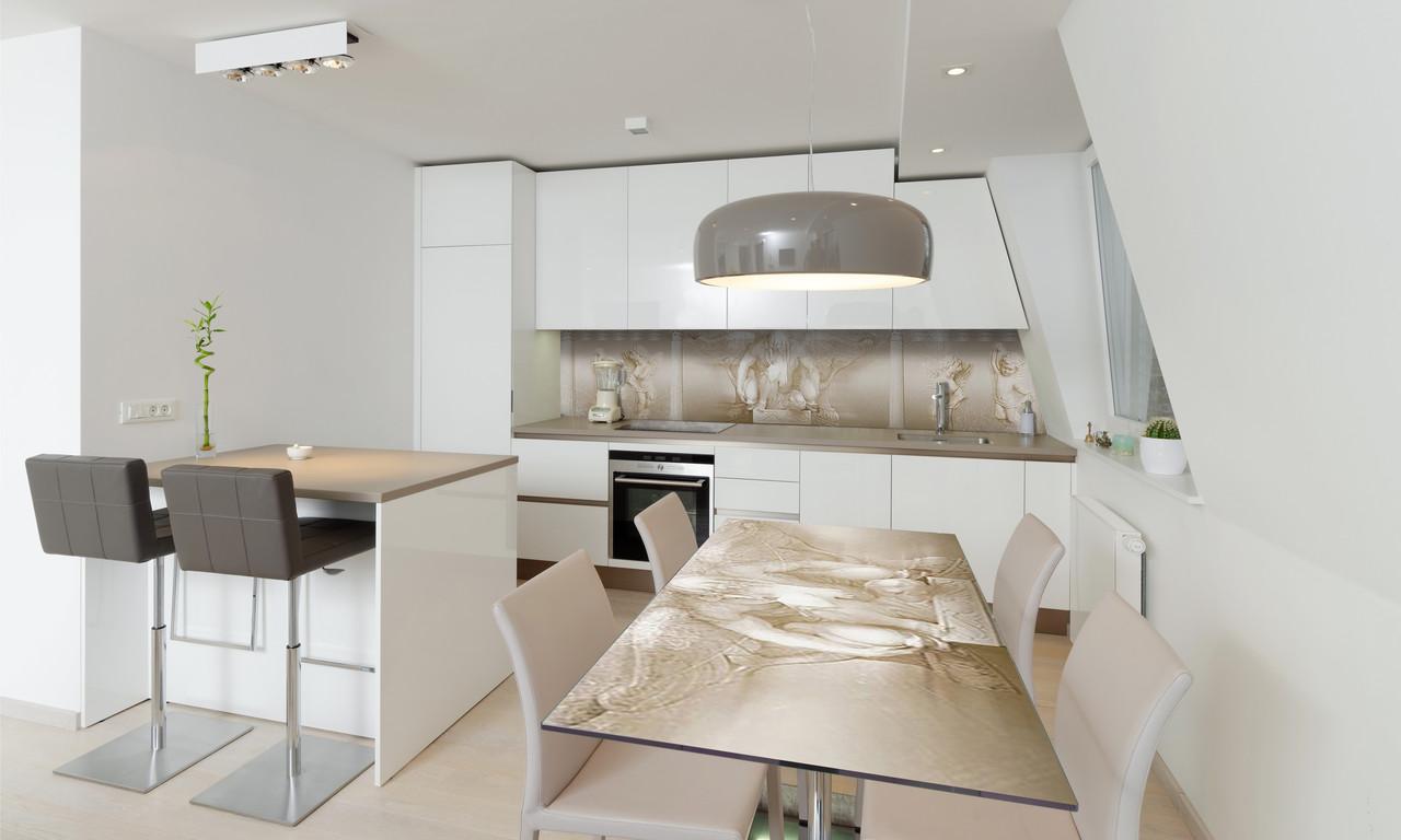 Наклейка 3Д виниловая на стол Zatarga «Ренесанс лепнина ретро» 650х1200 мм для домов, квартир, столов,