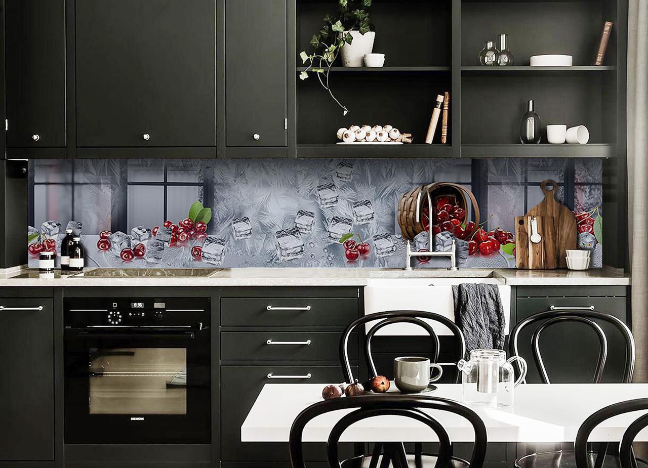 Скинали на кухню Zatarga «Ледяная Вишня» 600х2500 мм виниловая 3Д наклейка кухонный фартук самоклеящаяся