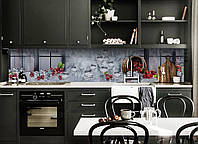 Скинали на кухню Zatarga «Ледяная Вишня» 600х2500 мм виниловая 3Д наклейка кухонный фартук самоклеящаяся, фото 1
