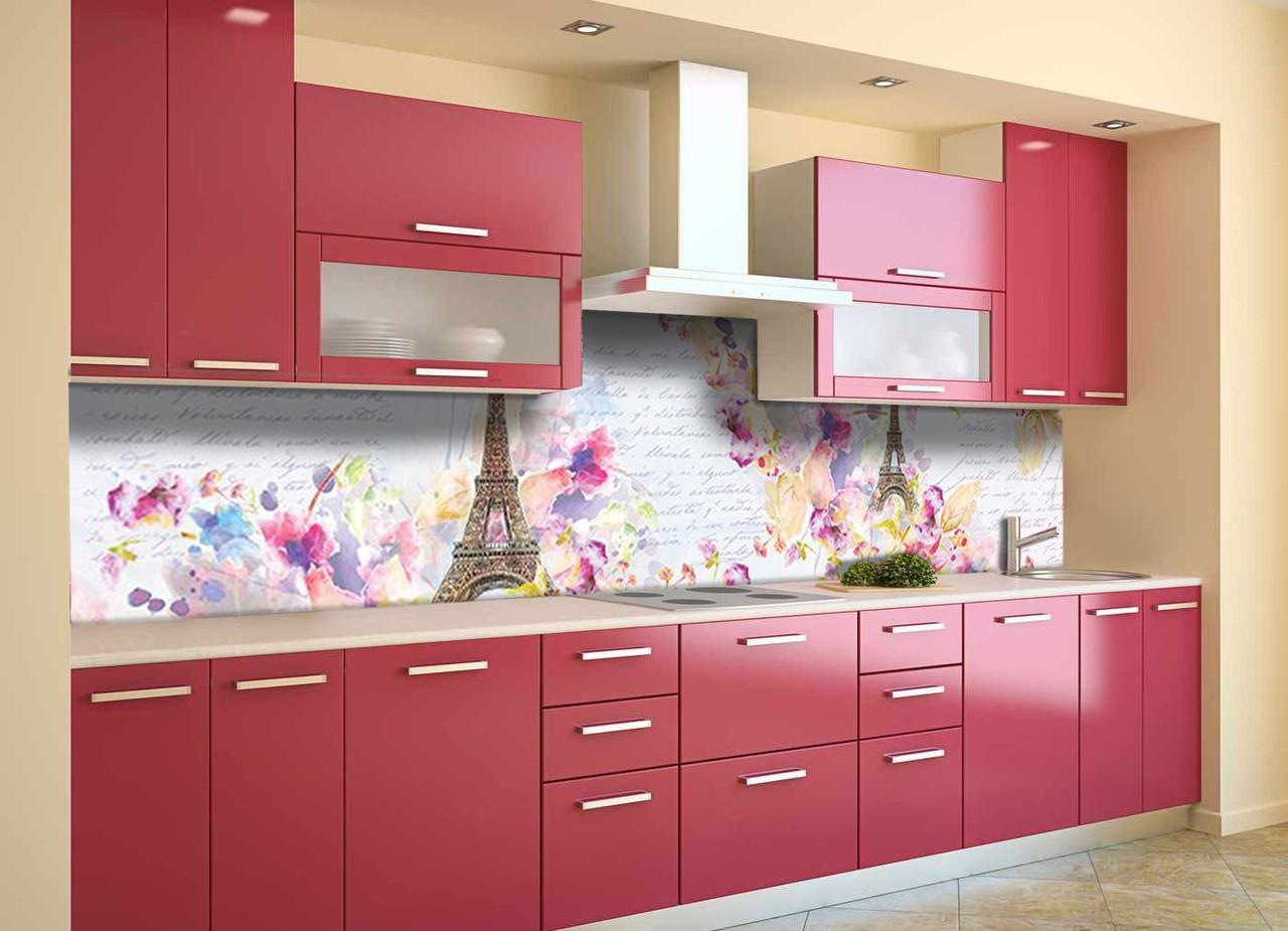 Скинали на кухню Zatarga «Акварельный Париж под кирпич» 600х2500 мм виниловая 3Д наклейка кухонный фартук