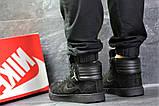 Мужские зимние кросовки Nike Jordan черные замшевые на меху, фото 4