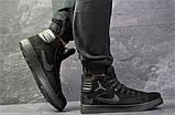 Мужские зимние кросовки Nike Jordan черные замшевые на меху, фото 6