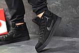 Мужские зимние кросовки Nike Jordan черные замшевые на меху, фото 7