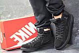 Мужские зимние кросовки Nike Jordan черные замшевые на меху, фото 2
